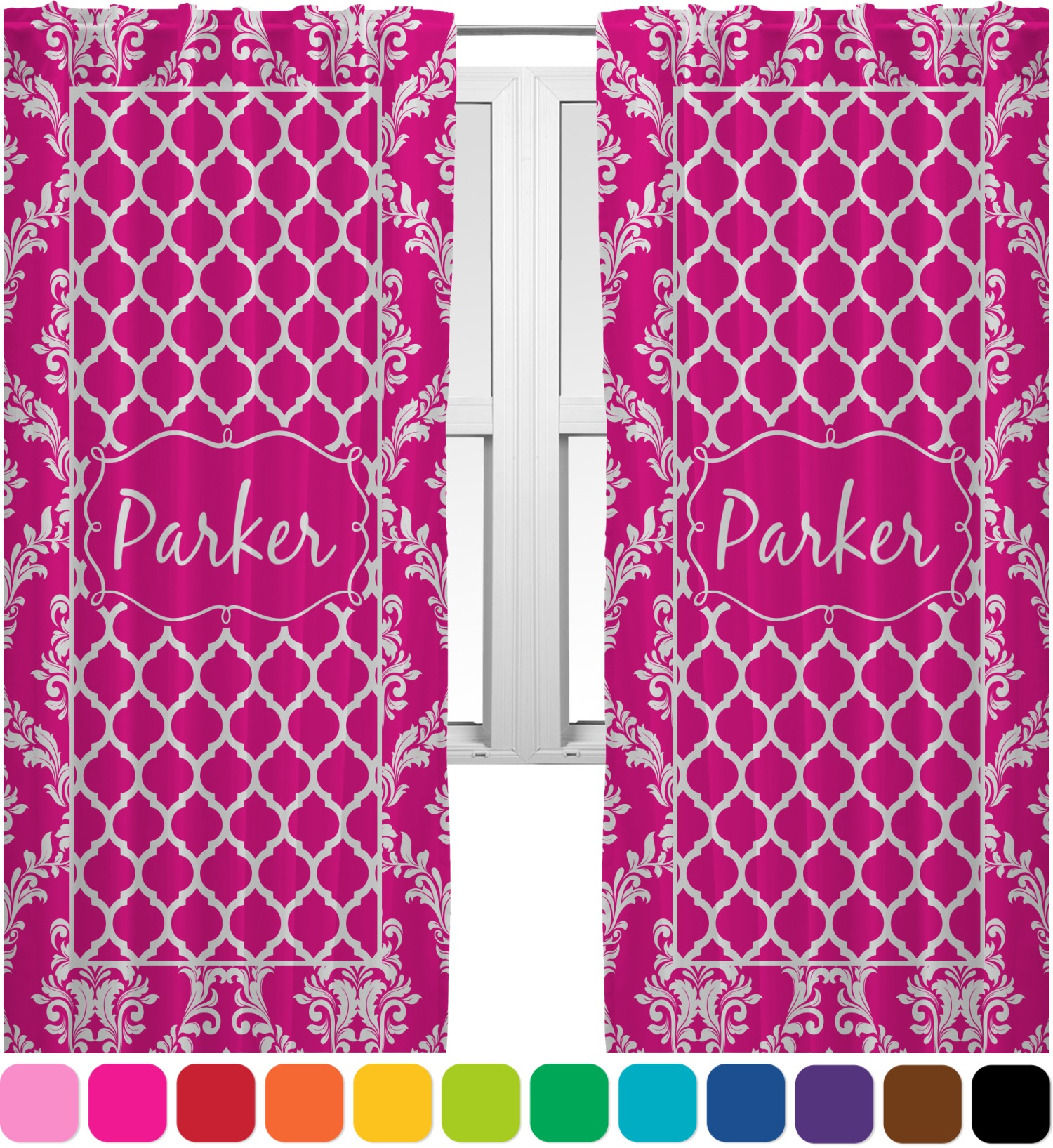 Moroccan Damask Curtains 20 X63 Panels Lined 2 Panels Per Set Personalized
