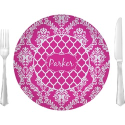 """Moroccan & Damask 10"""" Glass Lunch / Dinner Plates - Single or Set (Personalized)"""