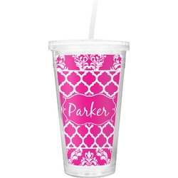 Moroccan & Damask Double Wall Tumbler with Straw (Personalized)