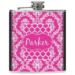 Moroccan & Damask Genuine Leather Flask (Personalized)