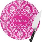 Moroccan & Damask Round Glass Cutting Board (Personalized)