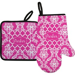 Moroccan & Damask Oven Mitt & Pot Holder Set w/ Name or Text
