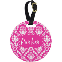 Moroccan & Damask Round Luggage Tag (Personalized)