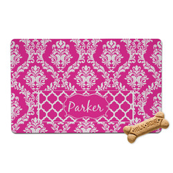 Moroccan & Damask Pet Bowl Mat (Personalized)