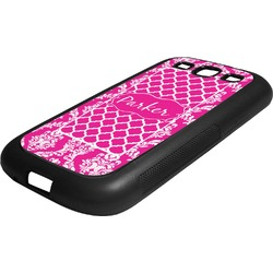 Moroccan & Damask Rubber Samsung Galaxy 3 Phone Case (Personalized)