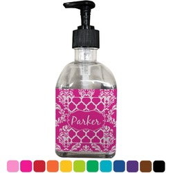 Moroccan & Damask Soap/Lotion Dispenser (Glass) (Personalized)