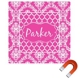 Moroccan & Damask Square Car Magnet (Personalized)