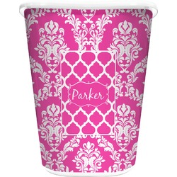 Moroccan & Damask Waste Basket - Double Sided (White) (Personalized)
