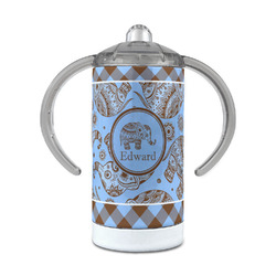Gingham & Elephants 12 oz Stainless Steel Sippy Cup (Personalized)