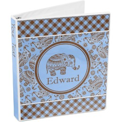 Gingham & Elephants 3-Ring Binder (Personalized)