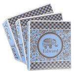 Gingham & Elephants 3-Ring Binder (Personalized)