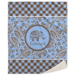 Gingham & Elephants Sherpa Throw Blanket (Personalized)