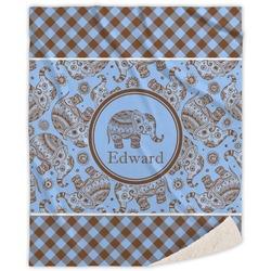 Gingham & Elephants Sherpa Throw Blanket (Personalized)