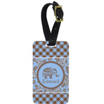 Gingham & Elephants Aluminum Luggage Tag (Personalized)