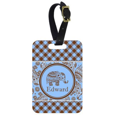 Gingham & Elephants Aluminum Luggage Tag (Personalized)