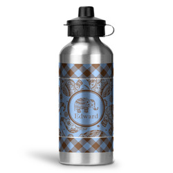 Gingham & Elephants Water Bottle - Aluminum - 20 oz (Personalized)
