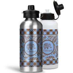 Gingham & Elephants Water Bottles- Aluminum (Personalized)