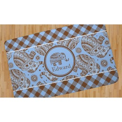 Gingham & Elephants Area Rug (Personalized)