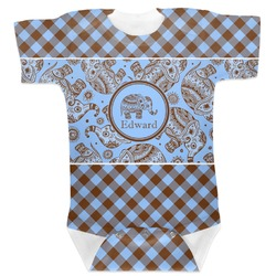 Gingham & Elephants Baby Bodysuit (Personalized)