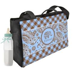 Gingham & Elephants Diaper Bag (Personalized)