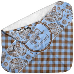 Gingham & Elephants Baby Hooded Towel (Personalized)