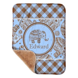 "Gingham & Elephants Sherpa Baby Blanket 30"" x 40"" (Personalized)"