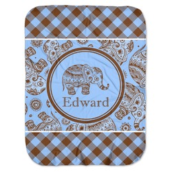 Gingham & Elephants Baby Swaddling Blanket (Personalized)