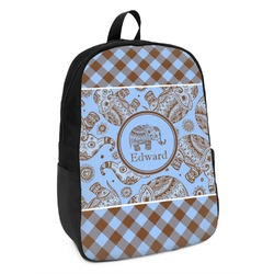 Gingham & Elephants Kids Backpack (Personalized)