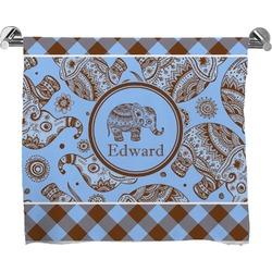 Gingham & Elephants Bath Towel (Personalized)
