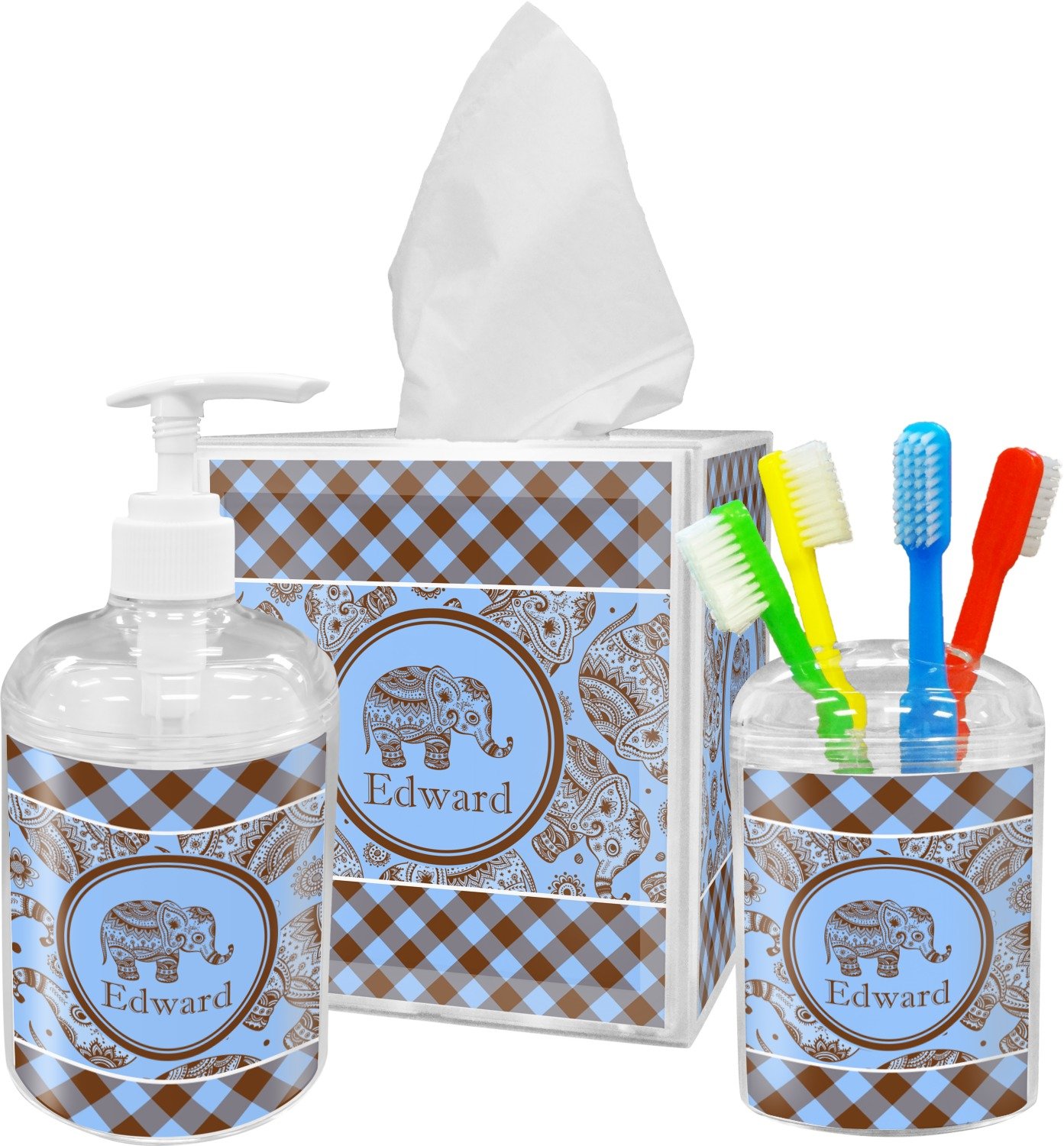Gingham & Elephants Bathroom Accessories Set (Personalized)