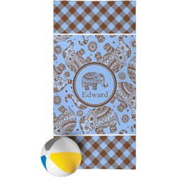 Gingham & Elephants Beach Towel (Personalized)