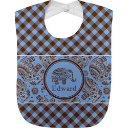 Gingham & Elephants Baby Bib (Personalized)