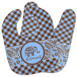 Gingham & Elephants Baby Bib w/ Name or Text