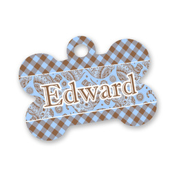 Gingham & Elephants Bone Shaped Dog Tag (Personalized)