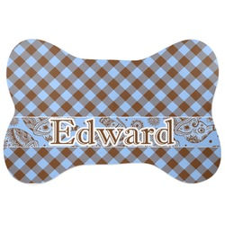 Gingham & Elephants Bone Shaped Dog Food Mat (Personalized)