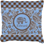 Gingham & Elephants Burlap Throw Pillow (Personalized)