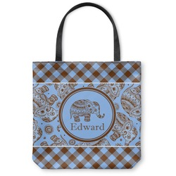 Gingham & Elephants Canvas Tote Bag (Personalized)
