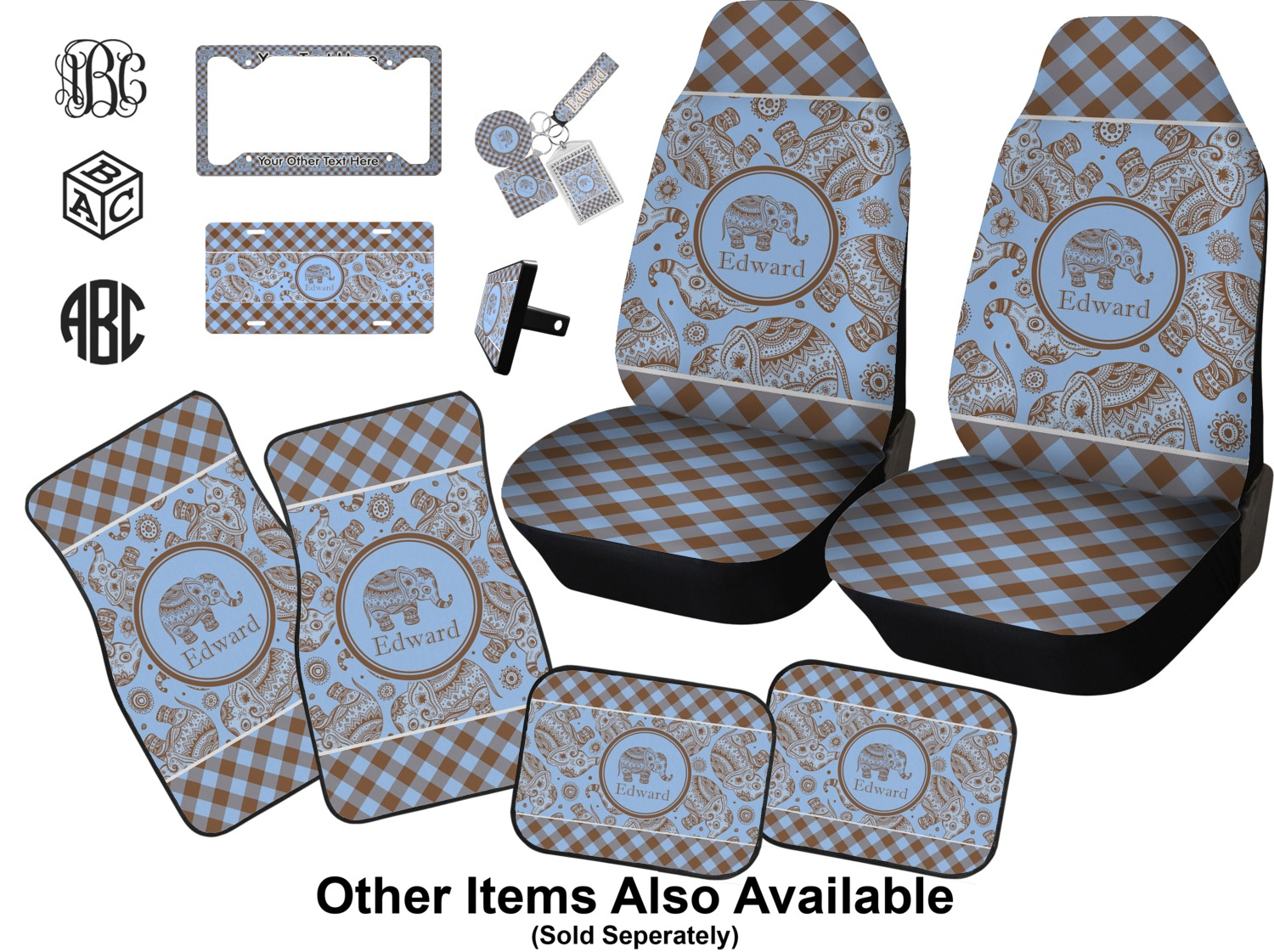 Gingham Elephants Car Accessories Set Personalized