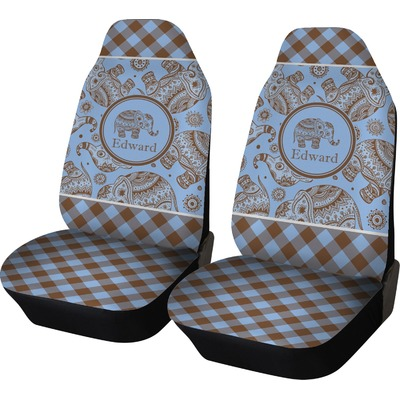 Gingham Amp Elephants Car Seat Covers Set Of Two
