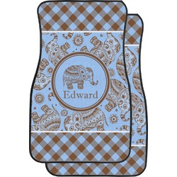 Gingham & Elephants Car Floor Mats (Front Seat) (Personalized)