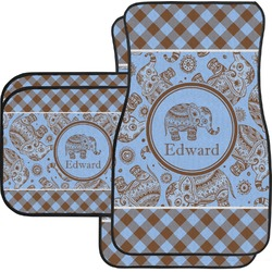 Gingham & Elephants Car Floor Mats Set - 2 Front & 2 Back (Personalized)