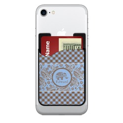 Gingham & Elephants 2-in-1 Cell Phone Credit Card Holder & Screen Cleaner (Personalized)