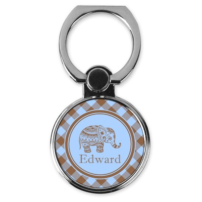 Gingham & Elephants Cell Phone Ring Stand & Holder (Personalized)