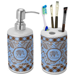 Gingham & Elephants Bathroom Accessories Set (Ceramic) (Personalized)