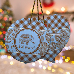 Gingham & Elephants Ceramic Ornament - Double Sided w/ Name or Text