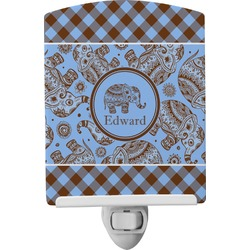 Gingham & Elephants Ceramic Night Light (Personalized)