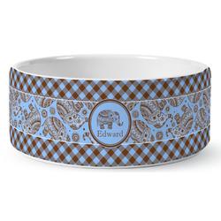 Gingham & Elephants Ceramic Pet Bowl (Personalized)