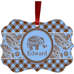 Gingham & Elephants Ornament (Personalized)
