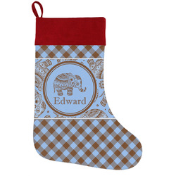 Gingham & Elephants Holiday / Christmas Stocking (Personalized)