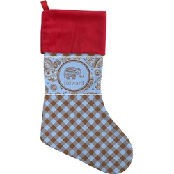 Gingham & Elephants Christmas Stocking (Personalized)